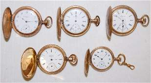 5 Ladies Hunting Case Pocket Watches For Parts