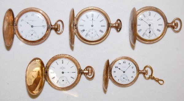 1: 5 Ladies Hunting Case Pocket Watches For Parts