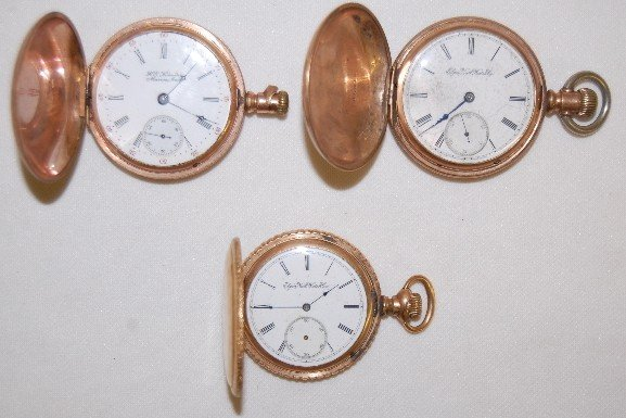 3: 2 Elgin & 1 Rockford HC Pocket Watches