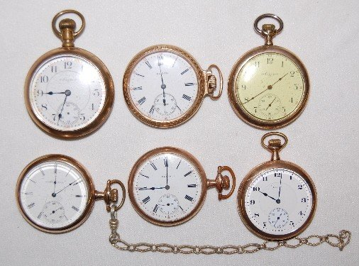 4: 6 Elgin Pocket Watches, All Open Face, 14S - 18S