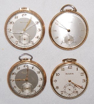 5: 4 Bulova Pocket Watches, Thin Cases, Open Face