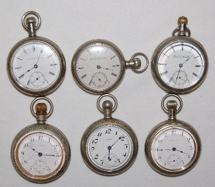 6: 6 Elgin Early Pocket Watches; 16S - 18S
