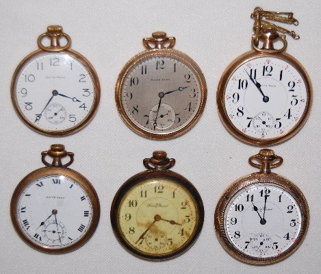 8: 6 South Bend Pocket Watches, All Open Face, SW
