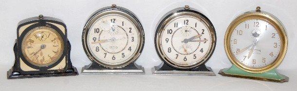 8A: 4 Metal Alarm Clocks: Ingraham and Gilbert