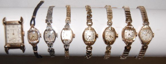 9: 8 Bulova Ladies Wrist Watches, Stem Wound