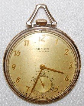 16: Gruen Veri Thin 17J 14S OF SW SS GF Pocket Watch