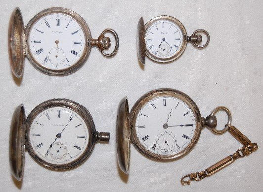 17: Silver & Coin Silver Hunting Case Pocket Watches