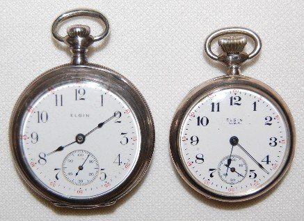 19: 2 Elgin Open Face Sterling Pocket Watches