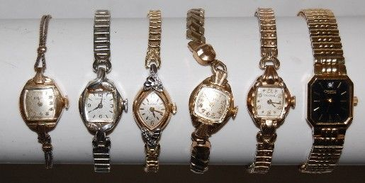 25: 6 Bulova Ladies Wrist Watches; 5 Older, 1 Modern