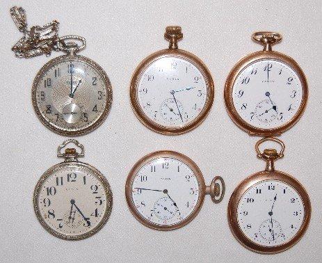75: 6 Elgin Pocket Watches, OF, 14S - 16S