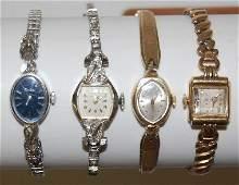 100: 4 Ladies 14K Wrist Watches, 2 Helbros, 1Elgin +