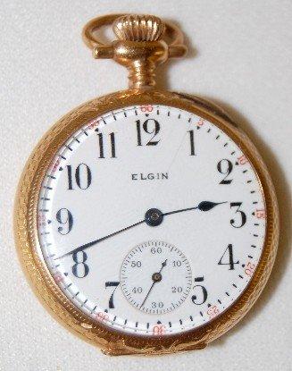 110: Elgin 14K, 0S, 15J, DMK, Open Face Pocket Watch