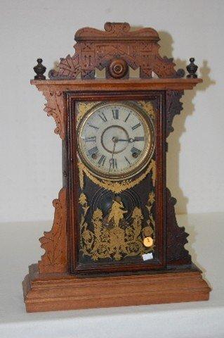 "2: E.N. Welch Walnut ""Dickens"" Kitchen Clock"