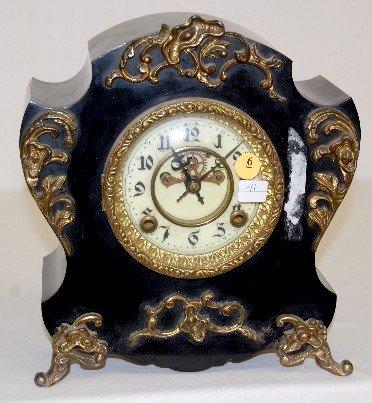 "6: New Haven ""Aragon"" Iron Case Mantel Clock"