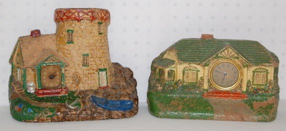 7: 2 Sirocco Wood Clocks: Cottage and Castle