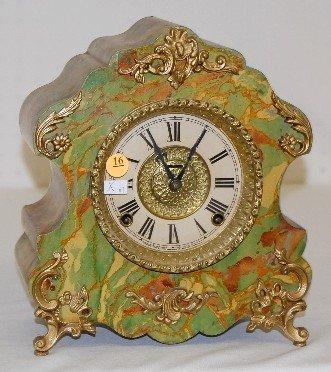 """16: Ingraham """"Marbleite No. 4"""" 8 Day Mantel Clock"""