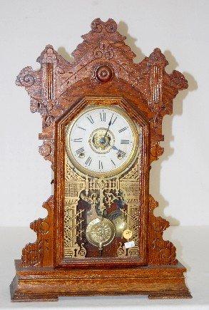 "20: Oak Seth Thomas ""Cambridge"" 8 Day Kitchen Clock"