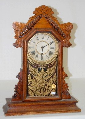 """33: Ingraham Walnut """"Topaz"""" 8 Day Kitchen Clock"""