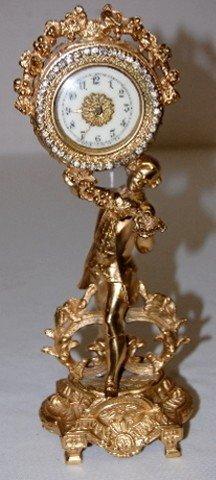 33A: Waterbury Metal Novelty Gentleman Dresser Clock