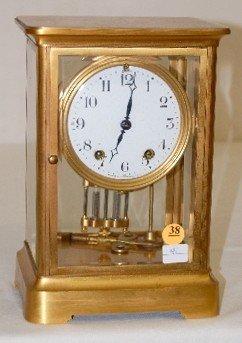 "38: Seth Thomas ""Empire"" Crystal Regulator Clock"