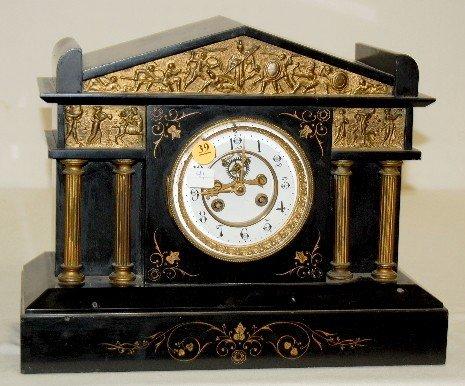 39: L. Marti & Cie Slate and Metal Mantel Clock