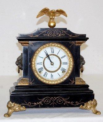 """42: Ansonia """"La Duchesse"""" Style Enameled Iron Clock"""