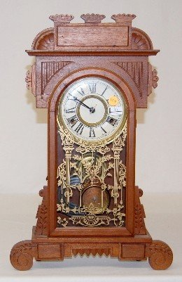 Ingraham Walnut 8 Day Mantel Clock