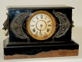 "Ansonia ""Padua"" Enameled Iron Case Clock"