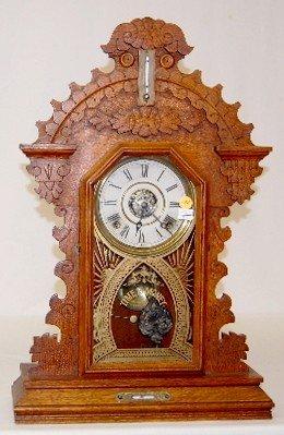 63A: Ingrahm Walnut 8 Day Kitchen Clock