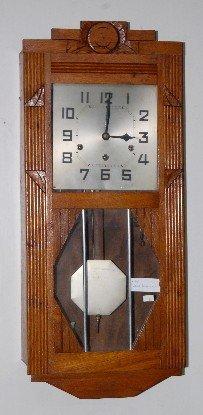 65: Hamburg German Oak Wall Hanging Box Clock