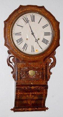 English Inlaid Scroll Wall Clock