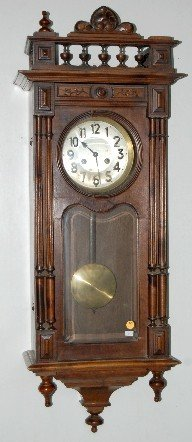 68: German Carved Wall Hanging Box Clock