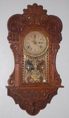 """70: Am. Mfg. Oak """"The Prophet"""" Calendar Wall Clock"""