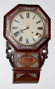 72: Sterling Inlaid Scroll Wall Clock