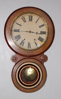 78: English Inlaid 8 Day T & S Wall Clock