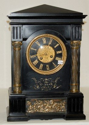 80: French Slate and Metal Mantel Clock