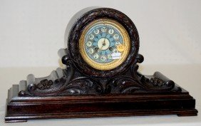 French Marti Carved Mantel Clock