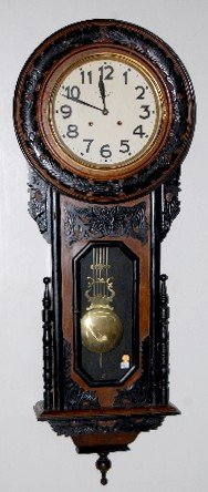 Japanese Carved Wood Hanging Clock