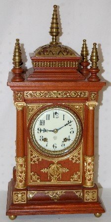 "163A: Ansonia ""Antique"" 5 Finial Cabinet Clock"