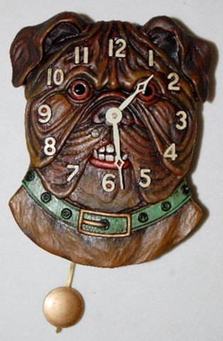 239: Bulldog Head Pendulette Wall Clock