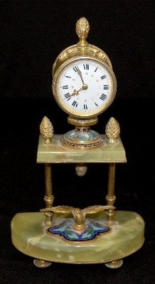 French Green Onyx & Champleve Shelf Clock