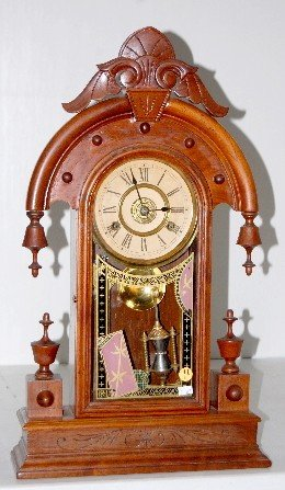 "41A: New Haven Walnut ""Elbe"" 8 Day Parlor Clock"