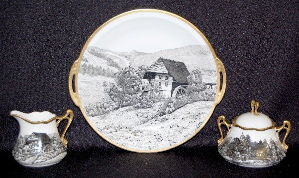2: 3 Pieces Royal Rudolstadt Scenic Dinnerware