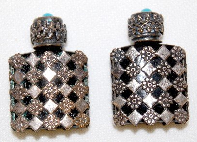 3A: 2 Miniature Ruby Glass Perfume Bottles