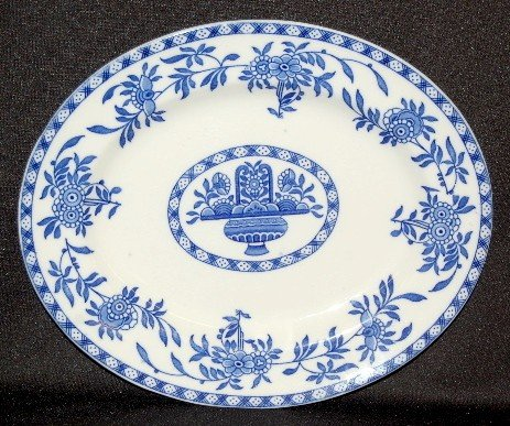 "9: Globe Pottery ""Delph"" Blue and White Platter"