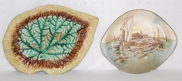 10: Royal Doulton Scenic Bowl and Majolica Leaf Dish