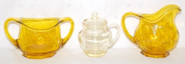 11: 3 Pieces Heisey Yellow and Amber Glass