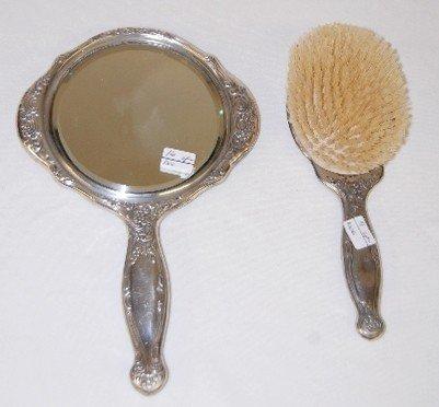 111A: Victorian Scenic Hand Mirror & Hair Brush