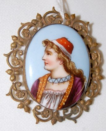 114A: Painted Porcelain Gypsy Portrait Brooch