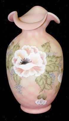 """116: Fenton Glass Burmese """"Open Poppy"""" Vase"""